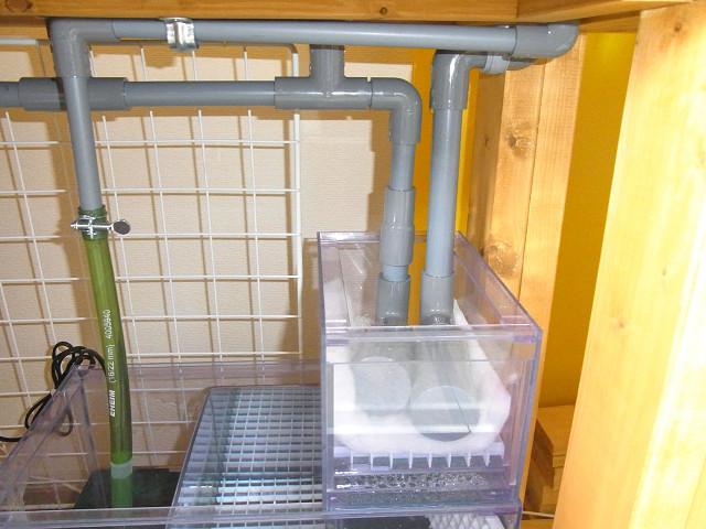 多段連結オーバーフロー水槽の自作ウールボックス
