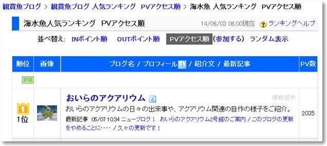日本ブログ村PVランキング1位(海水魚 人気ランキング)