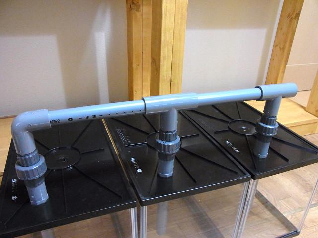 多段連結オーバーフロー水槽の排水の配管