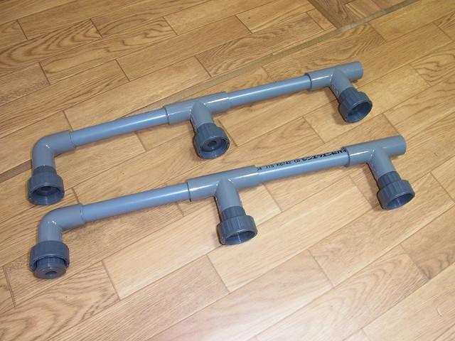 多段連結オーバーフロー水槽の配管を接着