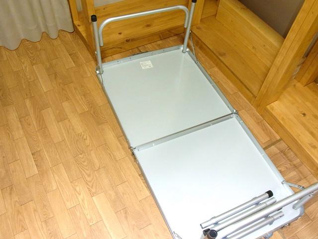 キャンプ用の机を自作水槽台の前に組み立てました。