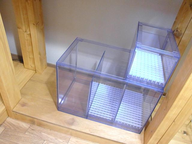 濾過槽&ウールボックスを自作水槽台にセット