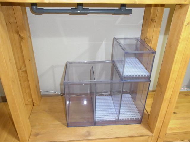 自作水槽台に設置した自作の濾過槽とウールボックス