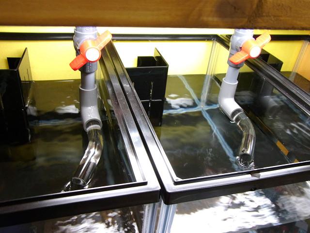 多段連結オーバーフロー水槽の給水口にアクリル曲げパイプを取り付け