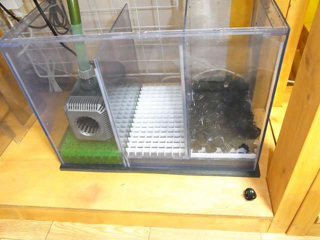 自作の塩ビ製濾過槽のウェット濾材としてバイオボールを投入