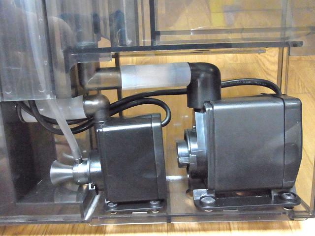 海道システムのプロテインスキマー用のポンプと循環用のポンプ