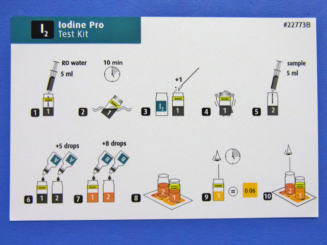 レッドシーのアイオディンプロテストキットのカラーカード