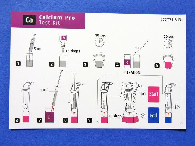 カルシウムプロテストキットの説明カード